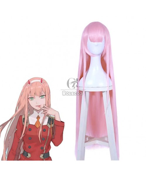 100 cm Lang DARLING IN THE FRANXX ZERO TWO Anime Rosa Gerade Cosplay Perücke