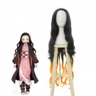 Blade of Demon Kimetsu no Yaiba Nezuko Kamado Black Brown Long Wave Cosplay Wigs