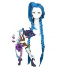 LOL Loose Cannon Jinx Blue Long Cosplay Woman Wigs