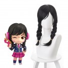 OW Academy D․Va Hana Song Black ponytail Cosplay Wigs