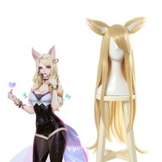 LOL KDA Skin Nine-Tailed Fox Ahri Blonde Long Cosplay Wigs