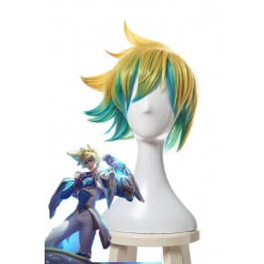 League of Legends Star Guardian Ezreal Kurze Golden Mixed Blue Spiel Cosplay Perücken