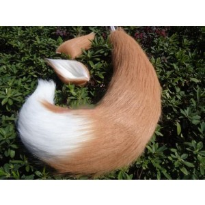 Wolftail Tail Light Brown White Plush Cosplay
