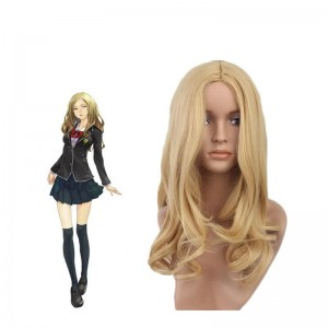 45cm Goldene Curly Guilty Crown Kuhouin Arisa Perücke