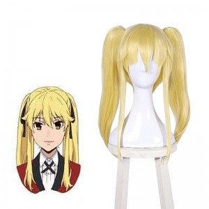 45cm Kakegurui Saotome Meari Synthetic Yellow Cosplay Wigs