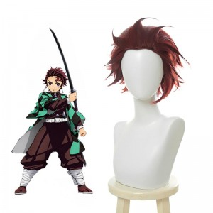 Blade of Demon  Kimetsu no Yaiba Tanjirou Kamado Red Black Cosplay Wigs