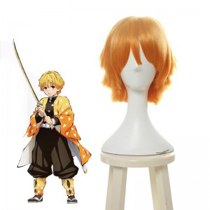 Blade of Demon  Kimetsu no Yaiba  Zenitsu Agatsuma Blonde Short Cosplay Wigs