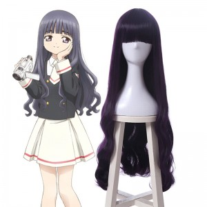Cardcaptor Sakura Clear Card-hen Tomoyo Daidouji Anime Cosplay Wigs Long Curly Deep Purple Woman Wigs