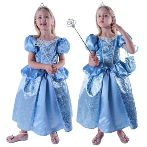 2015 Fashion Blau Kinder Costomes Aschenputtel Prinzessin-Kleid Cosplay Partei-Wear