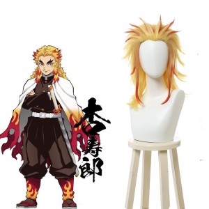 Demon Slayer Rengoku Kyoujurou Yellow Mixed Red Ponytail Cosplay Wigs
