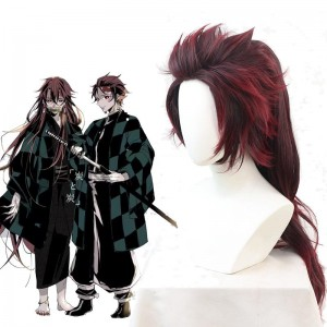 Demon Slayer  Tanjirou Kamado Female Red Black  Long Cosplay Wigs