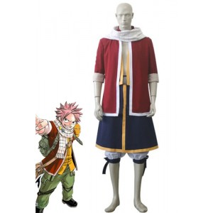 Fairy Tail Natsu Dragneel Cosplay Deep Red Coat