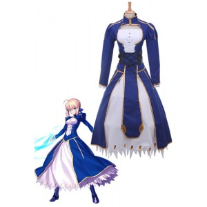 Fate Stay Saber Night Rin Deep Blue Dress Cosplay Costume Customized