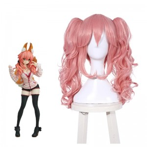 FateGrand Order Tamamo-no-Mae Long Peach Curly Synthetic Anime Cosplay Wigs
