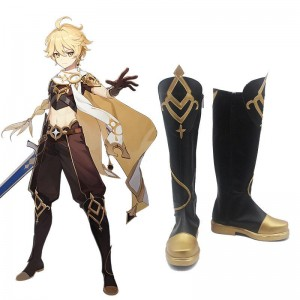 Game Genshin Impact Traveler Aether Cosplay Shoes