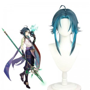 Game Genshin Impact Xiao Blue Mixed Cosplay Wigs