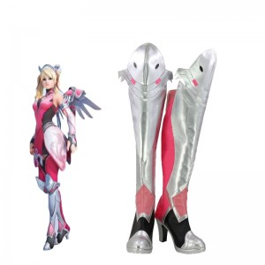 Game OW Pink Angel Cosplay Shoes