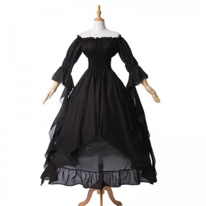 Women Renaissance Victorian Medieval Black Long Vintage Dress