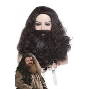 Harry Potter Rubeus Hagrid Long Curly Brown Movie Cosplay Man Wigs