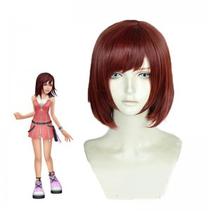 Kingdom Hearts III Game Kairi Short Straight Wine Red Cosplay Wigs