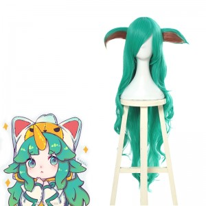 League Of Legends LOL Soraka Green Long Curly Game Cosplay Woman Wigs