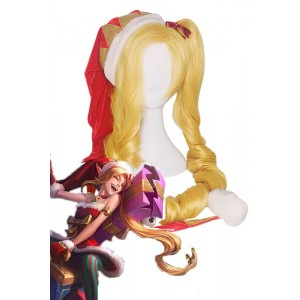 LOL Christmas Jinx Game Cosplay Wigs Long Gloden Woman Wigs