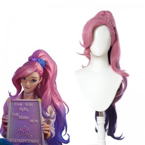 LOL KDA BADDEST Seraphine Pink Mixed Purple Long Ponytail Cosplay Wigs