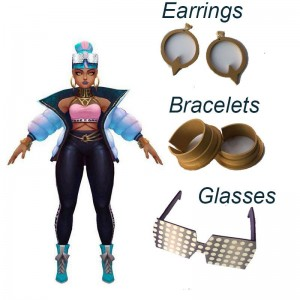 LOL True Damage Qiyana  Earrings & Bracelets & Glasses Cosplay Props