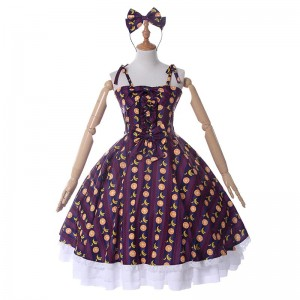 Lolita Summer Strapless Strap Dress Fruit Pattern Lolita Costume
