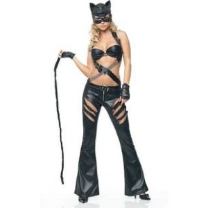 Fashion Sexy Catwoman Halloween Costume by Black Leather for all Charming Ladies
