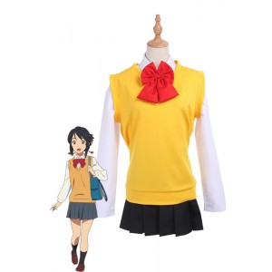 Movie Your Name Mitsuha Miyamizu Long Sleeves Cosplay Costumes