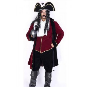 Dark Red Lange Robe Anzug Piraten der Karibik Soft-Cosplay