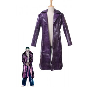 Suicide Squad Movie Joker Purple Cosplay Costumes Coat