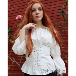Vintage Long Sleeve Shirt Strapless Shoulder Cosplay Costume