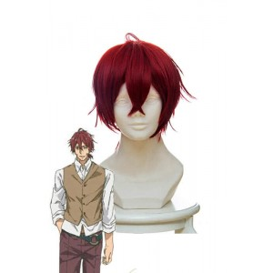 Violet Evergarden Claudia Hoggins Anime Cosplay Wigs Short Wine Red Synthetic Man Wigs