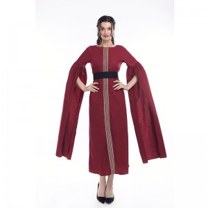 Women Girl Pure Cotton Retro Elegant Red Long Dress