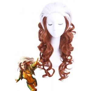60cm langen weißen Mixed Brown X-Men Rogue Curly Perücke