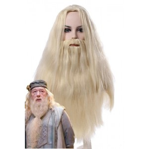 Harry Potter Albus Dumbledore Long Curly Silver White Movie Cosplay Man Wigs