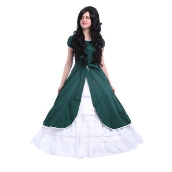 Victoria Army Green Color Party Dress Cosplay Costumes