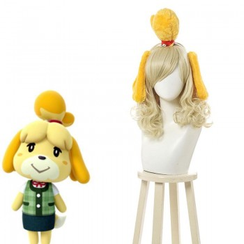 Animal Crossing Isbelle Long Curly Blond Cosplay Wigs