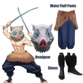 Demon Slayer Hashibira Inosuke Halloween Pig Head Cover  Waist Fluff Pants Cosplay Costume