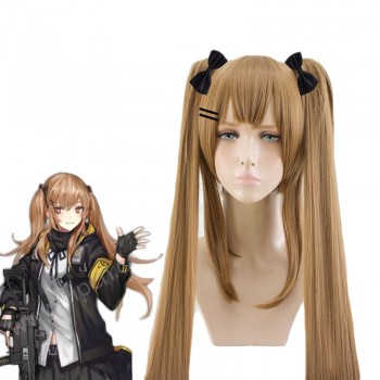 Game Girls Frontline UMP45/UMP9 Brown Ponytail/ Linen Curls Cosplay Wigs