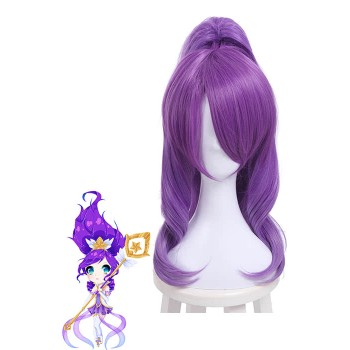 LOL Janna Magical Girl Purple Long Synthetic Cosplay Wigs with Ponytails