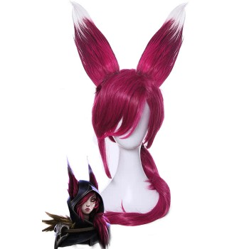 LOL Xayah Wine Long Straight Cosplay Wigs