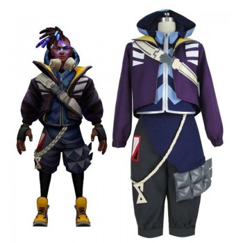 LOL True Damage Ekko Male Cosplay Costume Full Sets