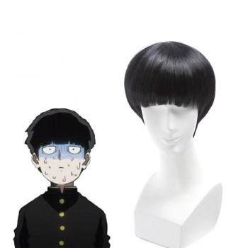 Mob Psycho 100 Mob Black Wave Head Short Wig Cosplay Wigs