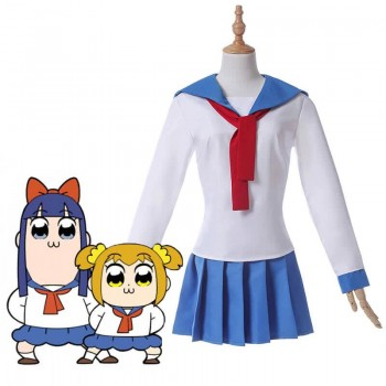 Poputepipikku Pop Team Epic Popuko und Pipimi Blaue Uniform Rock Anime Cosplay Kostüme