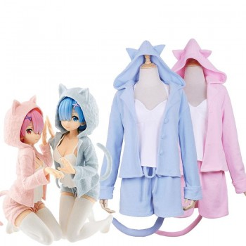 Re:ZERO -Starting Life in Another World Rem Ram Cat Pajamas 2 Colors Daily Cosplay Costume