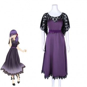 Fate Stay Night Matou Sakura Lila Rock Cosplay Kostüm