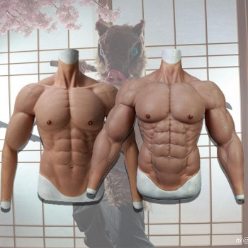 Silicone False Fake Muscle Elasticity Chest Man 2 Type 4 Color Cosplay Prop